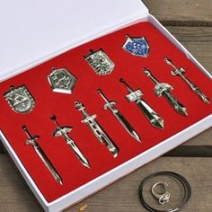 Legend of Zelda Metal Shield Sword Blade Weapon Set-11pcs - Looks like a keychain or charm set?