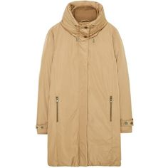 Mango Feather and Down Filled Funnel Neck Parka, Sand ($205) ❤ liked on Polyvore featuring outerwear, coats, long parka coat, brown parka, brown coat, parka coat and long brown coat