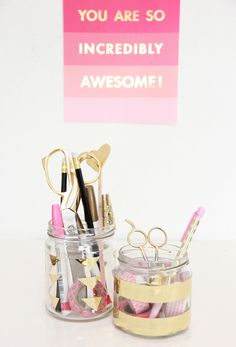 A Bubbly Life: DIY Upcycled Glass Washi Tape Organizers