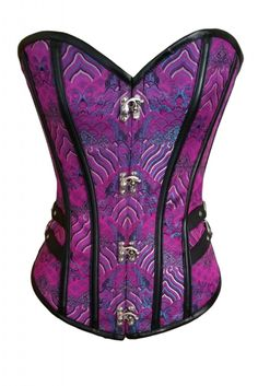 【$ 11.39】2pcs 14 Steel Bones Buckle Sides Lace up Purple Overbust Corset