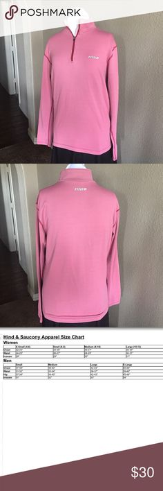 "Hind Running/Athletic Long Sleeve Shirt Quarter-zip. Straight cut. Rose colored long sleeve athletic shirt with darker rose stitching. No size tag, so please make sure approximate measurements below work for you. Some fading and wear.  Approximate Measurements (unstretched):  Chest - 40"" Shoulder width - 17"" Length - 25"" Hind Shirts"