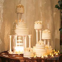 wedding cake fountain white by Patty\s Cakes