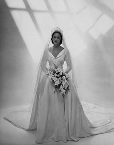 1945 bride. My mother's wedding dress and veil looked almost identical to this.