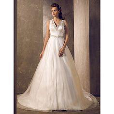 una línea de barrido de cuello v / cepillo tren satén y tul vestido de novia (699597) - USD $ 199.99