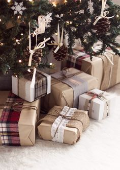 present wrapping in kraft paper and scraps of plaid