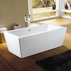 Amaze Rectangle Freestanding Tub. Beautiful, ergonomic and comfortable, Neptune's Amaze contemporary style rectangle bathtub features harmonious angles and curves, with a large bathing well.