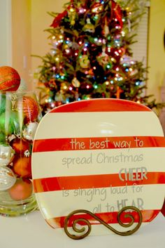 Painted Dollar Tree Christmas Plate, want to make this with gold stripes to match all of our decor!