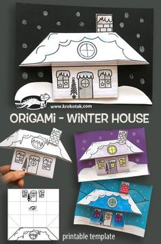 origami maison d'hiver (tutoriel - DIY) children activities, more than 2000 coloring pages Winter Art Projects, Winter Crafts For Kids, Winter Fun, Projects For Kids, Art For Kids, House Projects, Kids Christmas, Christmas Crafts, Kids Crafts