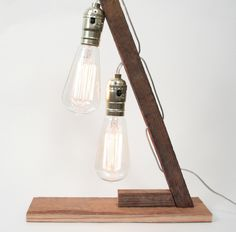 Tobacco Stick Lamp II- Vintage Lighting, Rustic Wood Lighting, Double Edison Bulbs. via Etsy.