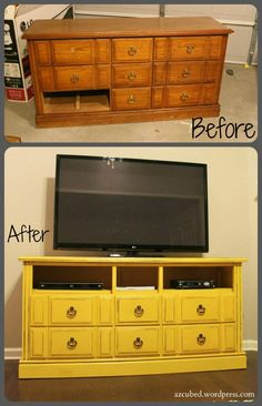 Dresser turned TV Console - just remove the top drawers and drill small holes to accommodate game console and blu-ray.