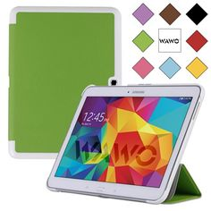 WAWO Samsung Galaxy Tab 4 10.1 Inch Tablet Smart Cover Creative Fold Case - Green. Close it, and tablet automatically goes to sleep. Designed specifically for samsung galaxy tab 4 10.1 inch tablet .SM-T530/SM-T531/SM-T535. Accurate openings will not affect any key operations and basic functions, such as synchronous, charging, headphones etc. This product is sold exclusively by WAWO. Size(B Smart Fold Case). Creative tri-fold front cover design, can fold as a stable stand for movies...