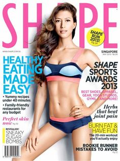 Nice Adidas by Stella McCartney swimsuit on the cover of Shape Singapore