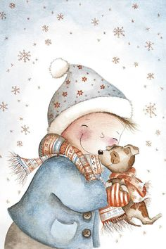 Lovely winter illustration of the new year and Christmas, children sculpting a snowman Illustration Noel, Winter Illustration, Christmas Illustration, Illustrations, Christmas Scenes, Christmas Books, Christmas Pictures, Winter Christmas, Outdoor Christmas