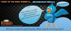 """#Congratulations """"Jeevankumar Teegala"""" - You have won our #tweet of the Week #Winner #Contest!!!  You have #won rs. 500/- #cashfree....  He Tweeted: """"NOW THERE is no LIMIT on classic rummy to play REAL cash games... play as much as u can enjoy"""" http://www.classicrummy.com/?link_name=CR-12"""