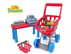 Little Treasures Mini Toddler Size Supermarket PlaySet - realistic pretend play of grocery shopping spree for kids -- Read more  at the image link.