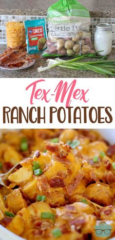 ranch potatoes Tex-Mex Ranch Potatoes-- Tender, creamy potatoes with a gooey, cheese topping and crunchy bacon.Tex-Mex Ranch Potatoes-- Tender, creamy potatoes with a gooey, cheese topping and crunchy bacon. Veggie Recipes, Mexican Food Recipes, Cooking Recipes, Tuna Recipes, Cooking Ideas, Recipies, Cooking Pork, Healthy Recipes, Recipes Dinner
