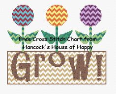free springtime cross stitch chart from hancock's house of happy