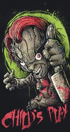 "Fan-Art of Chucky from ""Child's Play ""movie Horror Icons, Horror Films, Horror Art, Funny Horror, Chucky Movies, Child's Play Movie, Childs Play Chucky, Metal Albums, Alternative Movie Posters"