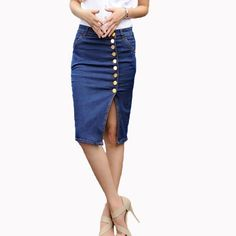 3de3630dda Hot Design 2017 Summer Sexy Women Fashion Denim Jeans Pencil Skirts Sexy  Single Breasted Knee Length Skirt Plus Size