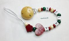 Schnullerkette Blume Wunschname Herz Baby md219 von myduttel auf DaWanda.com