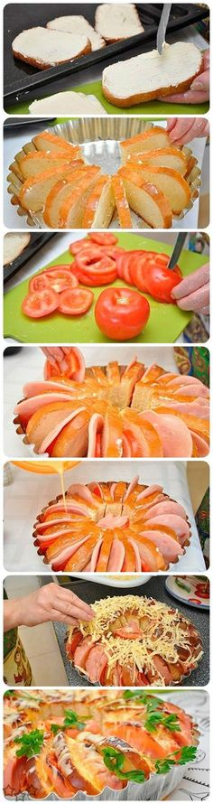 Delicious cake baked ham and fast with few ingredients . We will need: Sliced bread 5 eggs 3 tomatoes 600 gr. cooked ham or palette 150 gr. butter 200 ml . milk cheese gratin salt and pepper. Yummy Food, Tasty, Cooking Recipes, Healthy Recipes, Creative Food, Love Food, Food To Make, Food Porn, Easy Meals