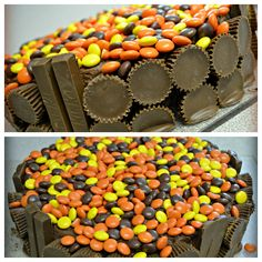 Fathers day cake for chocolate/peanut butter lovin' dads!  1 chocolate cake mix, chocolate icing, 9in pan, 1 bag of reeses pieces, 1 bag of reeses cups, and a package of kit kat bars can mak this Fathers day cake one to remember!