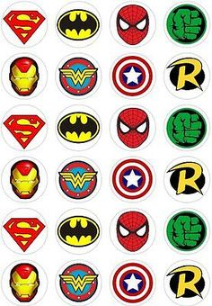 about 24 Super Hero Logo Retro Comic Book Cupcake fairy Cake Toppers Rice Wafer Paper 24 Super Hero Logo Retro Comic Book Cupcake fairy Cake Toppers Rice Wafer Paper in Crafts, Cake Decorating Avenger Party, Avenger Cake, Avengers Birthday, Superhero Birthday Party, Boy Birthday, Batman Party, Birthday Parties, Logo Super Heros, Book Cupcakes