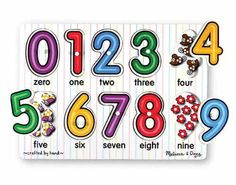 Melissa & Doug See-Inside Numbers Peg Puzzle. Number concepts, zero through nine, are illustrated in this peg puzzle / Colorful picture under each piece / Ages: years Wooden Puzzles, Jigsaw Puzzles, Wooden Toys, Sudoku Puzzles, Zero One, Number Puzzles, 18 Month Old, Early Math, Number Recognition