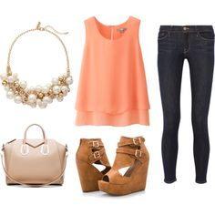 Casual Coral by hannahelizabetha on Polyvore featuring polyvore fashion style Uniqlo Frame Denim Ashley Stewart Givenchy The Limited