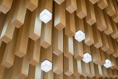 Modern Ceiling Design Idea - 4362 Square Wooden Dowels Cover The Ceiling Of This Watch Showroom