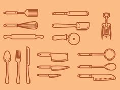 Dribbble - kitchen utensils by matt yow #icon  #badge