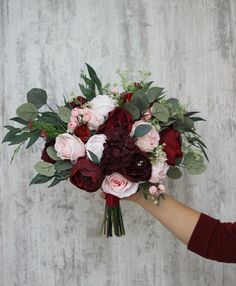Pink And Burgundy Wedding, Blush Wedding Flowers, Wedding Flower Arrangements, Flower Bouquet Wedding, Floral Wedding, Burgendy Wedding, Dahlia Wedding Bouquets, September Wedding Flowers, Silk Bridal Bouquet