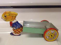 1930's J Chein Easter Bunny Rabbit Pulling Cart by BootyButtons, $old!