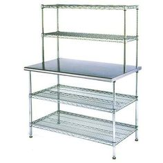 "Eagle Group T2448EBW-2 24"" x 48"" Stainless Steel Table with 2 Chrome Wire Undershelves and 2 Chrome Wire Overshelves"