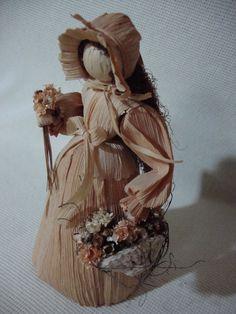 Lovely Corn Husk Doll Holding Flowers Handmade by BigYellowRetro