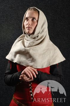 """MEDIEVAL DRESS WITH DETACHABLE SLEEVES, GORGET AND HOOD """" MEDIEVAL DREAM"""""""