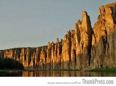 Lena's Stone Pillars in Siberia