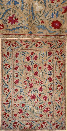 Antique Central Asian Suzani. Silk Embroidery on Cotton  Circa 1800