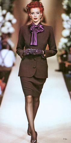 #YSL Classic 2 piece Suit <3 the colour pop with the purple on trend Iron Lady Bow blouse.