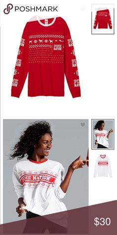 2 pink over sized long sleeve 1 white and 1 red long sleeve over sized shirt PINK Victoria's Secret Tops Tees - Long Sleeve