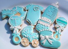 14 Tiffany Blue Baby Shower decorated Sugar by AlisSweetTooth, $36.00