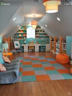 36 Cozy Attic Playroom Design Ideas, Your Kids are Sure To Love It - Craft and Home Ideas Attic Playroom, Playroom Organization, Playroom Design, Attic Rooms, Attic Spaces, Attic Bathroom, Playroom Ideas, Attic Office, Attic Closet