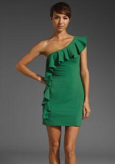 SUSANA MONACO One Arm Flutter Dress in Edamame