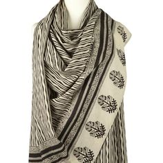 Ladies Cotton Scarf, cream with wavy design and fine black border motif. Handmade cotton beach sarong.