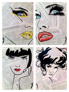 "Saatchi Online Artist: Conrad Jones; Paint 2013 Collage ""Fashion"" - almost lichtenstein"