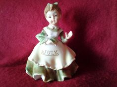 Vintage Lefton July Birthday Girl Figurine Hand by Cuppatique, $34.00