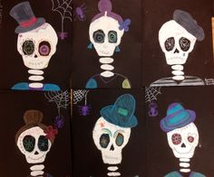 Halloween Painted Skeletons. This middle school art lesson is perfect for Halloween Art or Dio Los Muertos Art.