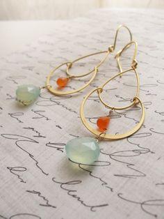 Pale blue and orange chandelier earrings  by OliveYewJewels, $38.00