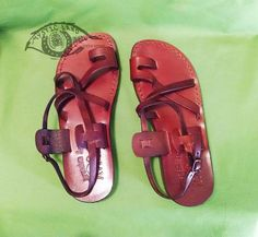 """#Brown #Mahogany Sandals Unisex Strappy Buckle Sandals faux leather with toe loop Jerusalem Sandal Designed to mimic the Ancient Dynasty findings in the caves and treasures of the Holy Land        Thick rubber Outsole with 2.5 cm thick (0.75"""") Heel  *Zero Drop Thick faux leather Insole and Upper Four intersecting thin flat straps with toe loop intersection, all horizontally slanted Straps inner lining is fibrous tissue; preventing Sweat"""