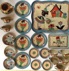 """Vintage 1938 Ohio Art tin-litho toy tea set Fern Bisel Peat """"Nursery Rhymes"""" #OhioArts"""
